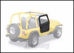 BESTOP 2-Piece Soft Doors In Black Denim For 1976-95 Jeep Wrangler YJ, CJ7 & CJ8 For Use With Factory Door Strickers 51783-15