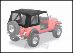 BESTOP Supertop Replacement Skin With Clear Rear Windows In Black Denim For 1976-95 Jeep Wrangler YJ & CJ7 55799-15