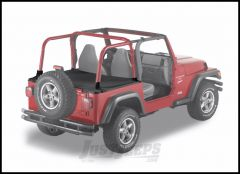 BESTOP Duster Deck Cover With Supertop Bow Folded Down In Black Denim For 1997-02 Jeep Wrangler TJ 90011-15