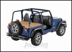 BESTOP Duster Deck Cover With Factory Soft Top Bow Folded Down In Spice Denim For 1997-02 Jeep Wrangler TJ 90019-37