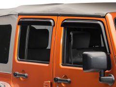 Black Horse Offroad Rain Guards in Smoke for 07-18 Jeep Wrangler JK Unlimited 4 Door 14-94249