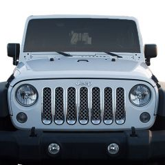 Black Horse Offroad 7-Pc Chrome ABS Plastic Mesh Grille for 07-18 Jeep Wrangler JK & Unlimited JK BH-ABS414