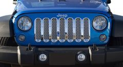 Black Horse Offroad 1-Pc Chrome ABS Plastic Mesh Grille for 07-18 Jeep Wrangler JK & Unlimited JK BH-ABS443