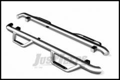 Go Rhino Sidebars Dominator II In Polished Stainless Steel Finish For 2007-18 Jeep Wrangler JK Unlimited 4 Door Models