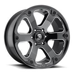Fuel Off-Road D562 Beast Wheel 17X9 in Gloss Black & Milled Finish For Jeep Vehicles with 5x5 Bolt Patterns D56217907345