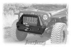Rock-Slide Engineering Rigid Series Shorty Front Bumper With Bull Bar & Winch Mount in Textured Black For 2007-18 Jeep Wrangler JK 2 Door & Unlimited 4 Door Models FB-S-100-JK-
