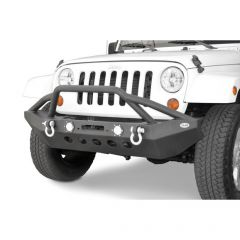 DV8 Offroad FS-8 Front Mid Width Winch Bumper with Bull Bar and LED Lights for 07-20+ Jeep Wrangler JL, JK & Gladiator JT FBSHTB-08