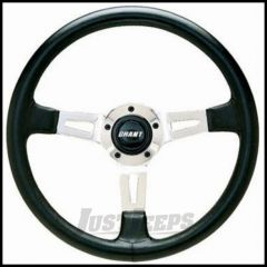 Grant Products Collector's Edition 3 Spoke Steering Wheel With Polished Aluminum Spokes & Stitched Leather Grip For 1946-95 Jeep CJ Series, Wrangler YJ & Cherokee XJ