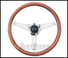 Grant Products Collector's Edition 3 Spoke Steering Wheel With Polished Aluminum Spokes & Mahogany Wood Grip For 1946-95 Jeep CJ Series, Wrangler YJ & Cherokee XJ
