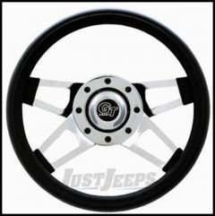 Grant Products Challenger Series Steering Wheel With Chrome Spokes & Black Cushion Grip For 1946-95 Jeep CJ Series, Wrangler YJ & Cherokee XJ