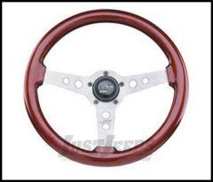 Grant Products Formula GT 3 Spoke Steering Wheel With Satin Aluminum Spokes & Mahogany Wood Grip For 1946-95 Jeep CJ Series, Wrangler YJ & Cherokee XJ