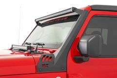Rough Country 50in Straight LED Light Bar Upper Windshield Kit for 18-20+ Jeep Wrangler JL, JLU & Gladiator JT 7006JT-