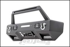 Rough Country Front Stubby LED Winch Bumper With LED Hoop Bar In Satin Black With (Black Series) For 2007-18+ Jeep Gladiator JT & Wrangler JK/JL 2 Door & Unlimited 4 Door Models 11826