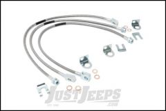"""Rough Country Extended Stainless Steel Front & Rear Brake Lines For 1987-06 Jeep Wrangler YJ & TJ Models & 1984-01 4WD Jeep Cherokee With 4-6"""" Lift 89715"""