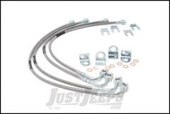 """Rough Country Extended Stainless Steel Front & Rear Brake Lines For 2007-18 Jeep Wrangler JK 2 Door & Unlimited 4 Door Models With 4-6"""" Lift 89716"""
