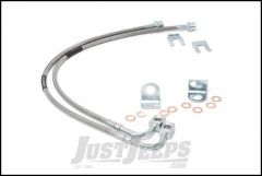 """Rough Country Extended Stainless Steel Front Brake Lines For 2007-18 Jeep Wrangler JK 2 Door & Unlimited 4 Door Models With 4-6"""" Lift 89707"""