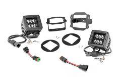 "Rough Country 2"" Cree LED Fog Light Kit (Black Series) For 2007-09 Jeep Wrangler JK 2 Door & Unlimited 4 Door Models 70623"