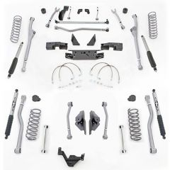 "Rubicon Express 3.5"" Extreme Duty 4-LINK Front & Rear Long Arm Lift Kit & Mono-Tube Shocks For 2007-18 Jeep Wrangler JK Unlimited 4 Door Models JK4443M"