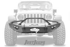 Fab Fours Lifestyle Full Width Black Front Winch HD Bumper With Pre-Runner Guard For 2018+ Jeep Gladiator JT & Wrangler JL 2 Door & Unlimited 4 Door Models JL18-B4652-1