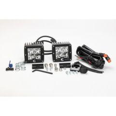 "KC HiLiTES 3"" C-Series C3 LED Spot with Clear LED Black (Pair) 330"