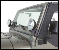 KC HiLiTES Windshield Light Mount Brackets In Black For 1976-95 Jeep CJ Series & Wrangler YJ 7321