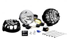 """KC HiLiTES 4"""" Driving Light System 55w Pair In Black With Harness (Spread Beam) 490"""