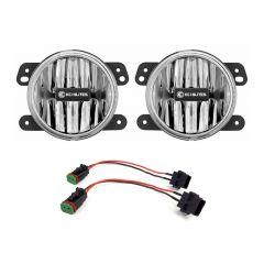 "KC HiLiTES 4"" Gravity LED Fog Light Kit (Amber) For 2018+ Jeep JL-Sahara-Rubicon & JT-Overland-Rubicon | Plastic Bumper 507"
