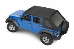 MasterTop SkyMaster Frameless Fastback Soft Top in MasterTwill Fabric for 07-18 Jeep Wrangler JK Unlimited 155JKU-