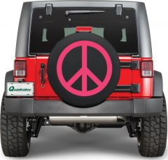 Quadratec Pink Peace Sign Tire Cover PEACE-