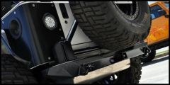 Poison Spyder RockBrawler (Bare Steel) Rear Bumper With Swing Out Tire Carrier & 2 Shackle Tabs For 1976-06 Jeep CJ Series, Wrangler YJ & Wrangler TJ Models 14-61-020-D