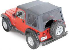 QuadraTop Premium Sailcloth Replacement Soft Top in Black Diamond for 97-06 Jeep Wrangler TJ 11000.4535