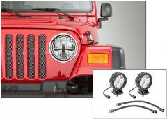 "Quadratec Stealth LED Headlights with Hi Performance 4"" Round LED Light Kit for 97-06 Jeep Wrangler TJ & Unlimited 97109TJHP-"