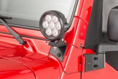 """Quadratec 6"""" Round LED Lights with Wiring Harness & Windshield Mount Brackets for 97-06 Jeep Wrangler TJ & Unlimited 97109TJ6-"""