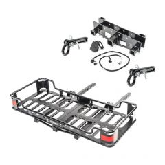 """VersaHitch Receiver, Wiring Kit, Jeep Logo Plug, Cargo Rack & D-Ring Accessory Hitch with 3/4"""" D-Ring for 07-18 Jeep Wrangler JK, JKU 12015PACK-"""