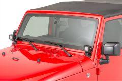 "Quadratec 3"" Cube LED with Wiring Harness & Windshield Mounting Brackets for 07-18 Jeep Wrangler JK, JKU 97109JK3-"