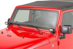 "Quadratec 4"" Rectangular LED Lights with Wiring Harness & Windshield Mount Brackets for 07-18 Jeep Wrangler JK, JKU 97109JKS4-"
