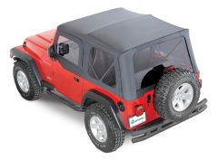 QuadraTop Premium Sailcloth Replacement Soft Top & Upper Doors in Black Diamond for 97-06 Jeep Wrangler TJ 11000.4635