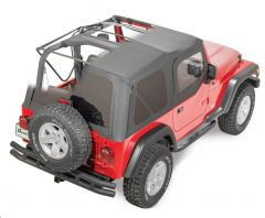 QuadraTop Gen II Complete Premium Soft Top with Tinted Windows & Upper Doors in Black Diamond Sailcloth for 97-06 Jeep Wrangler TJ 11000.5635