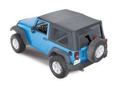 QuadraTop Premium Sailcloth Replacement Soft Top in Black Diamond for 07-18 Jeep Wrangler JK 2 Door 11000JK2DR-