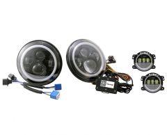 "Quake LED Tempest Halo RGB 7"" LED Headlights with 4"" HD Fog Lights for 07-18 Jeep Wrangler JK, JKU QTE781"