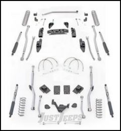 """Rubicon Express 3.5"""" Extreme Duty 4-Link Front With Rear Radius Long Arm Lift Kit & Mono-Tube Shocks For 2007-18 Jeep Wrangler JK 4 Door Unlimited Models JK4R43M"""