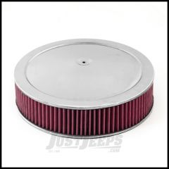 """Rugged Ridge 14"""" Round Air Cleaner Assembly Chrome Lid With Synthetic Filter For Universal Applications 17751.52"""