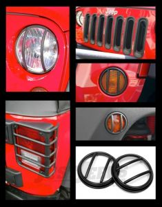 Rugged Ridge Euro Guard 19-Piece Light Kit in Black For 2007-18 Jeep Wrangler JK 2 Door & Unlimited 4 Door Models With Fog Lights 12496.05