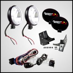Rugged Ridge 5 Piece Windshield Light Mount Kit With Slim Fog Lights in Black For 1997-06 Jeep Wrangler TJ & Unlimited TJ 12495.06