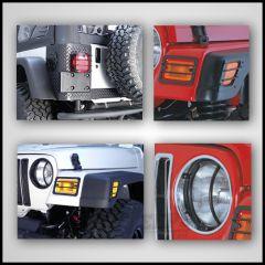 Rugged Ridge 8 Piece Euro Light Guard Kit in Black For 1997-06 Jeep Wrangler TJ & Unlimited TJ 12495.02