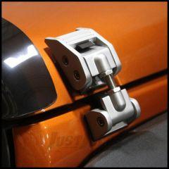 Rugged Ridge (Silver) Aluminum Hood Catches For 2007-18 Jeep Wrangler JK 2 Door & Unlimited 4 Door Models 11116.07