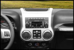 Rugged Ridge Center Radio Trim in Silver For 2011-18 Jeep Wrangler JK 2 Door & Unlimited 4 Door Models 11152.24