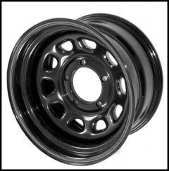 "Rugged Ridge D-Window Black Steel Wheel With 5x5.5 Bolt Pattern in 15x8 Size & 3.75"" Backspacing For 1976-86 Jeep CJ Series 15500.10"