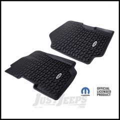 Rugged Ridge Floor Liners Front Black With Jeep Logo For 1976-95 Jeep CJ Series & Wrangler YJ DMC-12920.22