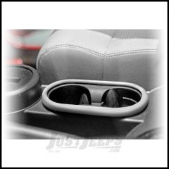 Rugged Ridge Front Cup Holder Accent In Brushed Silver For 2007-10 Jeep Wrangler & Wrangler Unlimited JK 11151.13